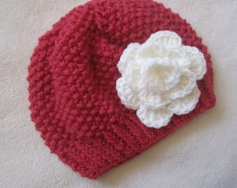 SPECIAL ORDER for Cara.  Mocha Beanie with Flower. Made to order Beanies for children