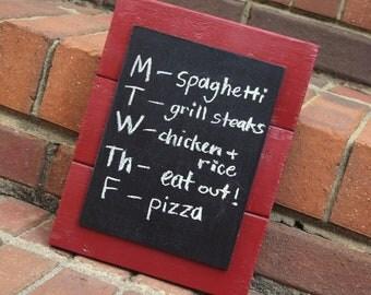Chalkboard - Message Sign - Wood Frame - Barn Red & Black