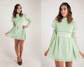 Vintage 60s Mint Green POLKA DOT & DAISY Babydoll Mini Dress M