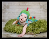 Cute-a-saurus Hat and Diaper Cover Set- Made to Order- Any Size