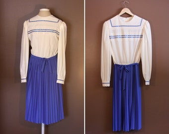Blue and White Pioneer Type Dress By Herman Marcus - 1960s - Plus Size XL or XXL