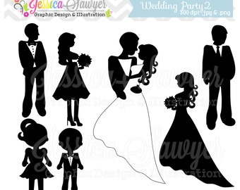 INSTANT DOWNLOAD, wedding silhouette clipart, silhouette clipart,  for greeting cards, announcements, scrapbooking