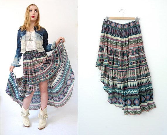 items similar to southwest high low upcycled skirt