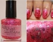 Pink Lady - mega pink holo and red glitter nail polish (RETIRING)