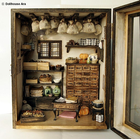 Traditional oriental Herbal Medicine Shop- handmade Dollhouse Miniatures