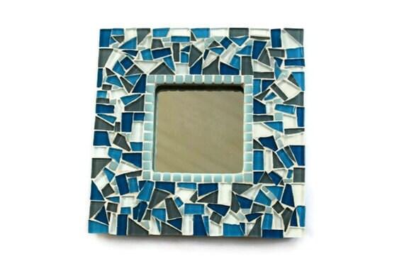 Mosaic Mirror,  Blue and Gray