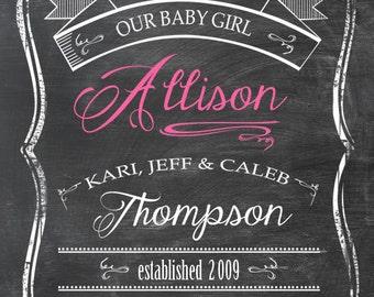 Birth Announcement / Nursery Art - Chalkboard Look 11 x 14 Print