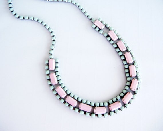Vintage 1950s One Of  A Kind Hand Painted Seafoam Green and Pink Rhinestone Necklace