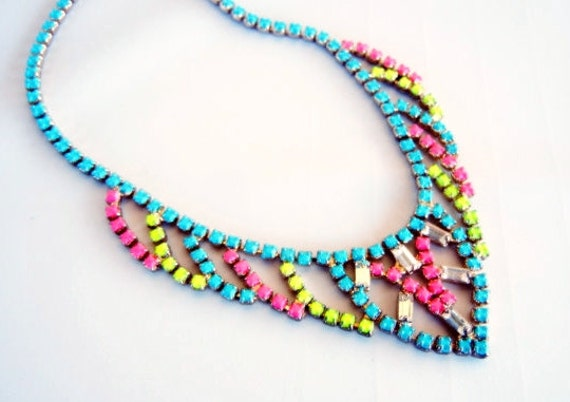 Vintage 1950s One Of  A Kind  Hand Painted Neon Turquoise Pink and Yellow Rhinestone Necklace
