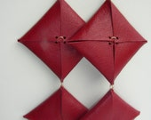 Handmade Red Leather Statement Earrings