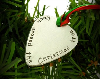 Hand Stamped Over Sized Guitar Pick Christmas Ornament Great Gift!
