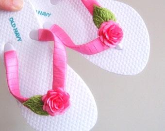 Pink Flower Girl Flip Flops
