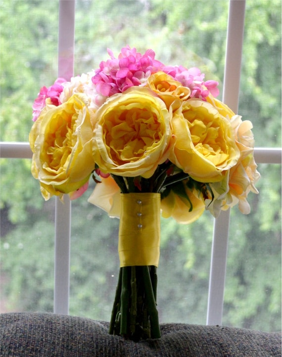 Yellow & Pink Bouquet - Yellow Cabbage Roses, Pink Hydrangea, and Yellow Peonies