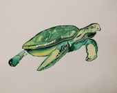 Turtle-Original Watercolor Painting