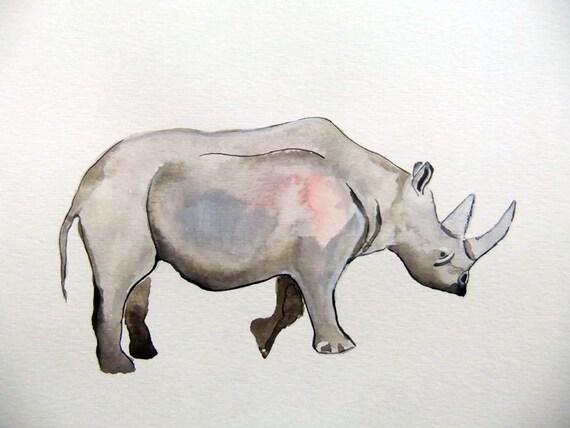 Original Watercolor Painting-Rhino