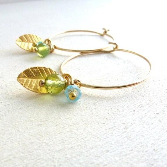 Gold Filled Hoop Earrings Gemstone Jewelry Leaf Charm Peridot Apatite
