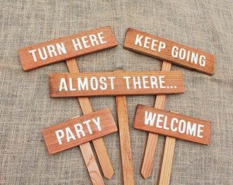PARTY SIGNS, DESTINATION Signs, Location Signs, Turn Here, Directional Signs, Wedding Signs, Family Party Signs