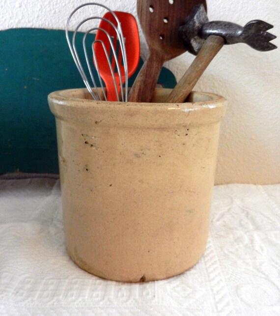 Antique Salt-Glazed Pottery Crock/Small Primitive Crock/TREASURY LIST ITEM