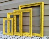 Country French Sunny Yellow Frame Collection / Empty Frames / Cottage / Shabby