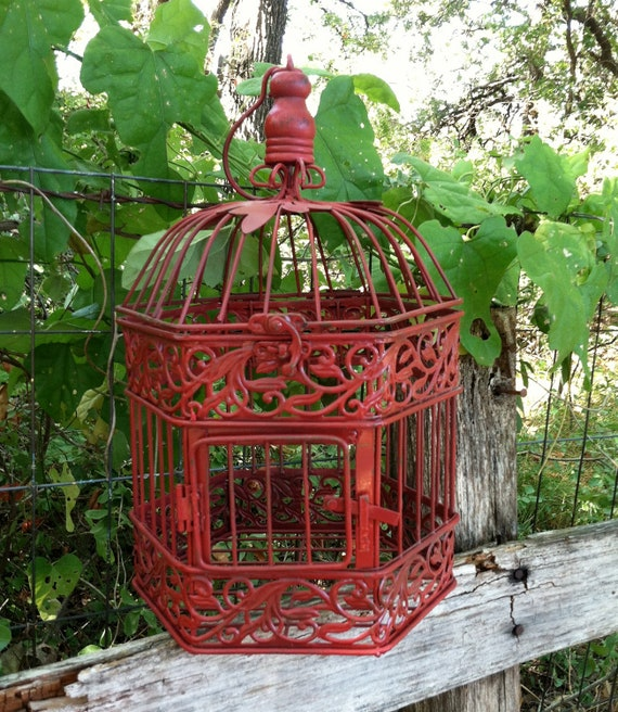 Red French Country Hexagon Birdcage / Victorian / Wedding / Table Decor