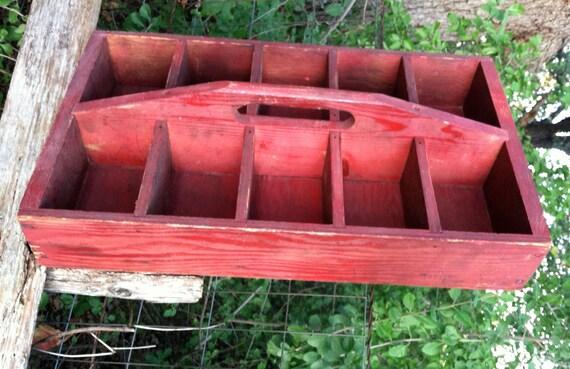 Farmhouse Red Wooden Tool Box / Vintage Box / Organizer