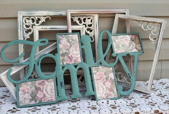 FAMILY Hanging Picture Frame / Beach Green Wall Decor / Wall Words / Cottage Chic Frame