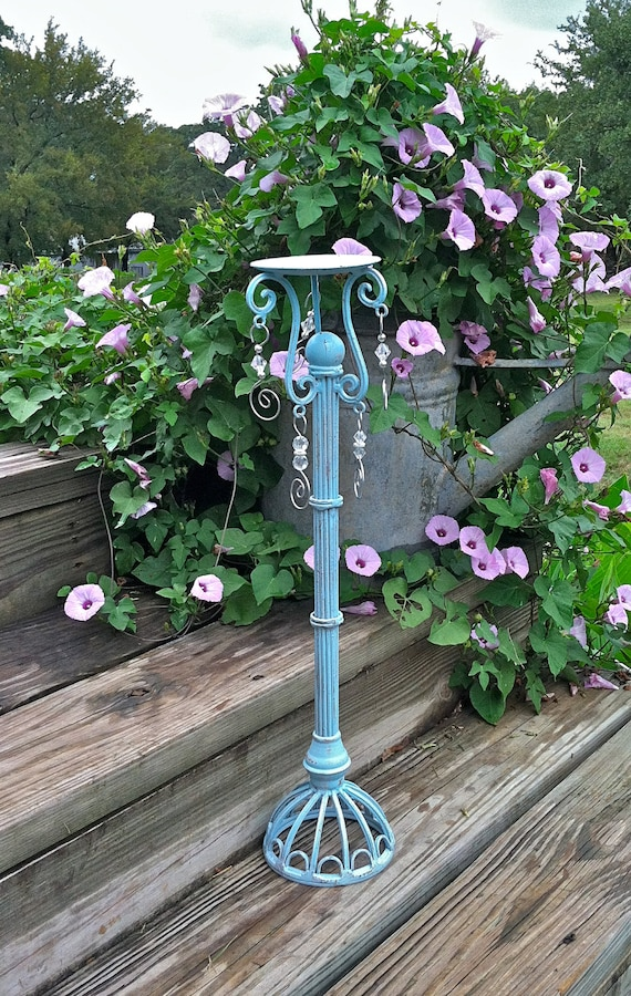 Country French Iron Pillar Candle Holder / Country French Aqua