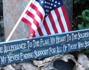 I Pledge Allegiance To The Flag Montana Wooden Sign Heart Solider USA Troops Military Patriotic Brave Honor Hero Flag Montana Wood Sign