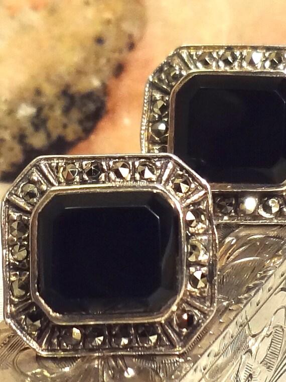 Sterling Silver Onyx & Marcasite Earrings.