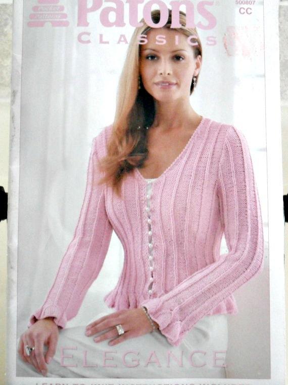 Misses Sweater Cardi Shawl Patons Classics Elegance Pocket Patterns Knitting Book