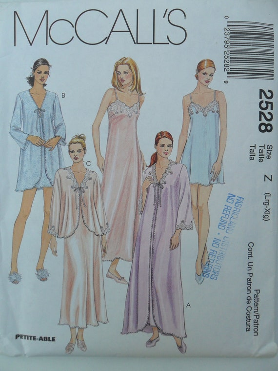 Misses Nightgowns, Robes Housecoats Bed Jacket Nightwear Sewing Pattern McCall's 2528 Size LRG/XLRG 16-18 20-22 Plus Size