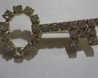 Rhinestone Key Brooch