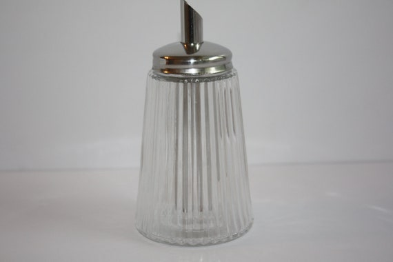 Vintage Uwo Germany Sugar Dispenser With Ribbed Glass