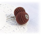 SALE Crochet brown earrings, Crochet beads
