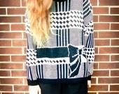 Vintage 80s Black and White Zig Zag Plaid Checker Print Bow Grandpa Knit Sweater Oversized