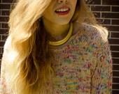 Vintage 90s Grunge Multi Peach Cream Oversized Sweater