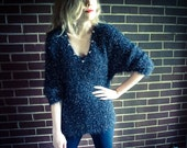 Repurposed / Recycled Vintage Black Silver Glitter Fuzzy Oversized Sweater