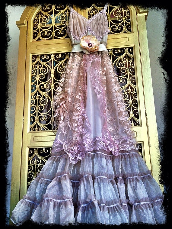 sand nude & blush pleated chiffon marie antoinette boho crinoline princess dress by mermaid miss k