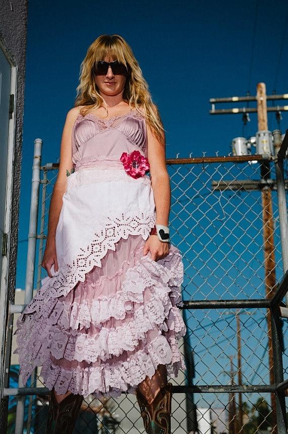 dusty mauve asymmetrical chiffon & lace marie antoinette formal dress large by mermaid miss k