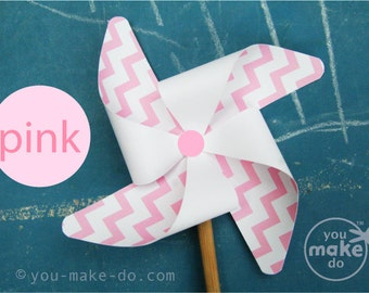 INSTANT DOWNLOAD pink pinwheel, paper pinwheels, girl baby shower party favors, pink birthday party favor, pinwheel printable, gender reveal