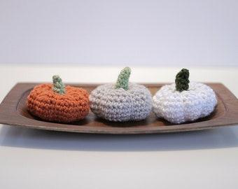 Crochet Pumpkin Set of Three, Mini Pumpkins. Fall Decor, Thanksgiving Decorations, Rustic Fall Pumpkin Decor. Halloween Decor, Hostess Gift.