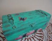 Decoupaged Wooden turquoise roses & butterflies jewellery box - shabby chic