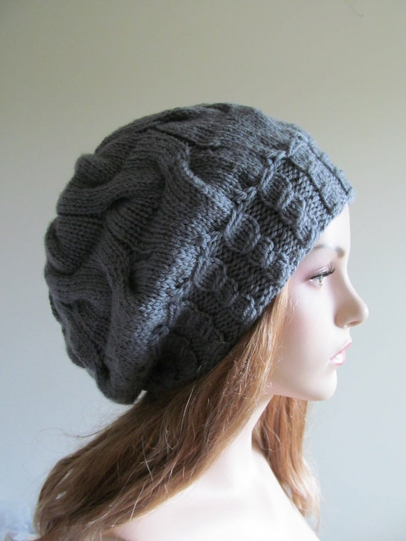 Slouchy Wool Beret Oversized Cabled Beanie Grey Handmade Wool  Slouch