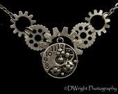 Nickel Steampunk Necklace with Open Clock Face