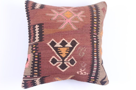 "Modern Bohemian Home Decor,Turkish Kilim Pillow Cover 16"" X 16"", Tribal Pillow,Kilim Ebroidery Pillow,Vintage Kilim Pillow Cushions, accent"