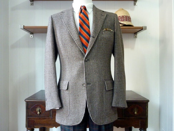GORGEOUS Vintage Brooks Brothers Multicolored Box Check Tweed Jacket 40 Long. Made in USA.