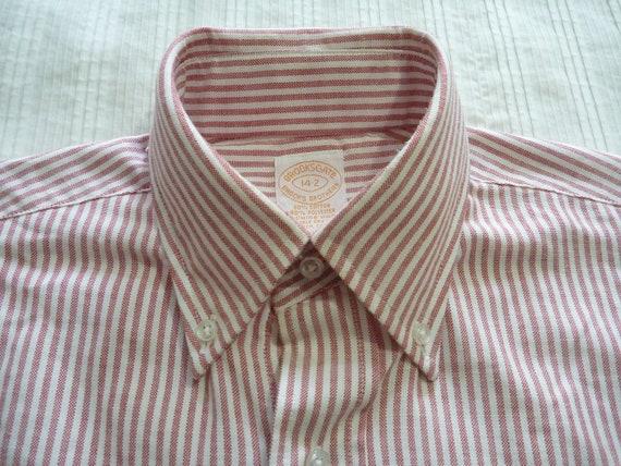 Vintage Brooks Brothers BROOKSGATE Red & White University Stripe OCBD Button Down Collar Dress Shirt 14 - 2. Made in USA.