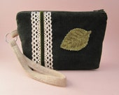 Green Leaf Corduroy Wristlet with Natural Lace and Velvet Ribbon Wristlet Purse