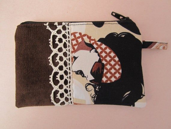 Rocker Girl Change Purse with Brown Corduroy and Lace