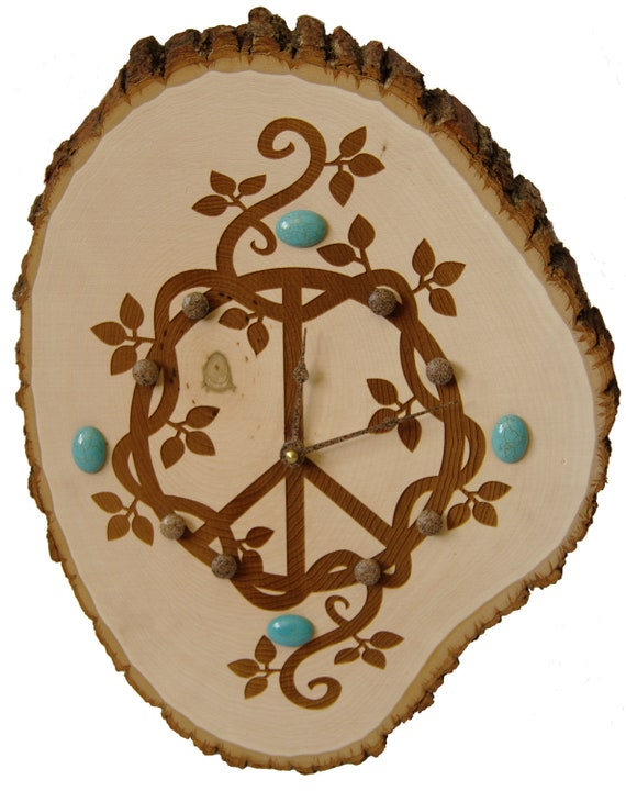 wood burned clock peace sign and vines with turquoise gemstone cabochons